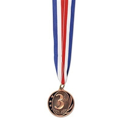 The 3rd Place Medal w/Ribbon is your standard award ribbon and medal. Each 2 inch replica bronze medal is engraved with 3rd and is attached to a 32 inch red, white, and blue neck ribbon. Ribbon forms a 16 inch loop for placing around a neck.