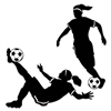 Celebrate a successful girls soccer season by throwing a team banquet or soccer themed party. PartyCheap's Girl Soccer Silhouettes are perfect for the occasion. One features a girl dribbling a soccer ball, while the other is a girl kicking the soccer ball