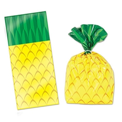 These Pineapple Cello Bags are great to hand out treats to your luau guests. Each bag measures 4 inches by 9 inches by 2 inches and is printed to resemble a pineapple. Comes 25 cellophane bags per package with 25 twist ties included.