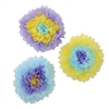 These Assorted Lavender Tissue Flowers will make any room feel like spring. Each flower contains tissue colors  of lavender, blue and yellow. Three flowers per package. Each flower measures 10 inches. Simple assembly required.