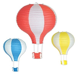 The Hot Air Balloon Paper Lanterns are shaped paper lanterns in bright color combinations of red & white, yellow & white, and blue & white. One large 22 inch lantern and two 16 inch lanterns per pkg. Simple assembly required.