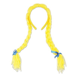 These yellow Pigtail Braids are attached to a yellow fabric covered headband. Perfect for costumes, school plays, and Oktoberfest celebrations, use these to create your own unique character. Accented with blue satin ribbon ties. One per package.