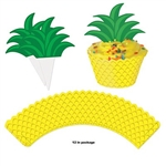 The Pineapple Cupcake Wrappers are made of cardstock and printed on one side only. They measure 8 inches long and 1 ¾ inches wide. Comes with 12 stem toppers which measusre 4 inches long and 3 inches wide. Contains twelve (12) pieces per package.