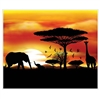 The Safari Insta-Mural are black silhouettes of various safari animals and tress against a vibrant sunset that's a mix of yellow and orange. Printed on thin plastic and measures 5 feet by 6 feet. Contains one per package. Complete wall decoration.