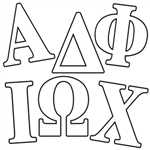 We have plenty of Greek Letter Peel 'n Places from which you can choose! Whether you're looking for Alpha, Beta, Gamma, Epsilon or Mu, we have it here at www.dj-party.net! Each Greek Letter is removable and easy to use, and will adhere to smooth surfaces.