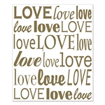 "Love your next party by decorating the wall with this ""Love"" Insta-Mural! It's a complete wall decoration that measures a whopping five feet by six feet. The insta-mural sports a white background with the word ""love"" written in different gold fonts."