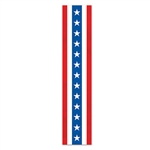 Decorate for a 4th of July party or barbecue with this Patriotic Fabric Column Bunting. It measures 15 inches wide by 6 feet long and features the classic red, white and blue colors on the American flag. It even has stars on it! Comes one per package.