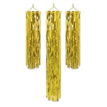 Add some gold to a Hollywood themed party or any themed birthday party by decorating with these Mini Flame Retardant Gleam 'N Columns. Two of the columns measure five inches wide by 29.5 inches long, while the other measures four inches wide by 4.5 feet.