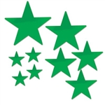 The Green Pkgd Foil Star Cutouts are made of foil covered cardstock. Sizes range in measurement from 5 inches to 15 inches. Each package contains (9) star cutouts. 4 measure 5 inches, 3 measure 9 inches, 1 measures 12 inches, 1 measures 15 inches.