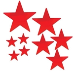 The Red Pkgd Foil Star Cutouts are made of foil covered cardstock. Sizes range in measurement from 5 inches to 15 inches. 4 measure 5 inches, 3 measure 9 inches, 1 measures 12 inches, 1 measures 15 inches. Contains 9 cutouts per package.