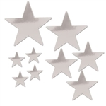 The Silver Pkgd Foil Star Cutouts are made of foil covered cardstock. Sizes range in measurement from 5 to 15 inches. 4 measure 5 inches, 3 measure 9 inches, 1 measures 12 inches, and 1 measures 15 inches. Contains a total of 9 cutouts per package.