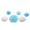 This assortment of both blue and white Tissue Fluff Balls are a unique hanging decoration that would be a great addition to almost any themed party. Three of the fluff balls measure nine inches, two measure 12 inches and one measures 16 inches.