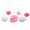 These lovely pink and white assorted tissue fluff balls are the perfect hanging decoration for your wedding or baby shower. Each tissue fluff ball comes with it's own satin ribbon for hanging, and just needs a little simple assembly.