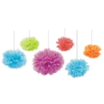 Tissue Fluff balls in assorted colors match our Alice in Wonderland decorations perfectly! Each package contains six balls, in assorted colors including lime green, red, orange, blue and violet. Sizes range from 9 to 16 inches.
