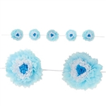 This Light Blue Tissue Flower Garland adds a touch of springtime to any party. Each flower combines layers of blue and white tissue. Each garland contains five 10 inch flowers. Measures 8 feet in length. Simple assembly required
