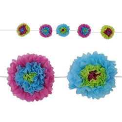 Add a summer vibe to your next party with the Tissue Flower Garland - Lime Green Assortment. Each tissue flower is a mix of  blue, lime green, and purple. Measures 8 feet long and contains five tissue flowers measuring 10 inches. Simple assembly required.