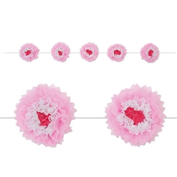 The Pink Tissue Flower Garland will add a touch of springtime to any party. Each flower has layers of pink, white, and red tissue. Flowers measures 10 inches and comes five flowers per garland. Measures 8 feet in length. Simple assembly required