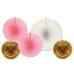 Add some gold, pink and white to the party with these Assorted Paper & Foil Decorative Fans! The paper fans are elegant, while the foil fans are shiny and eye-catching! Comes five bright, colorful and unique fans per package.