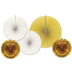 Our Assorted Paper & Foil Decorative Fans - Gold add a glamorous touch to a wedding reception or awards night party! Assorted size fans 9 to 16 inches.  A combination of five tissue and gold foil fans per package.