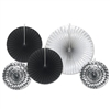 Add a black and silver ceiling display to your party with these Black and Silver Assorted Paper & Foil Decorative Fans. The silver fans have an eye-catching shine to them and the black creates an elegant setting, Comes five fans per package.