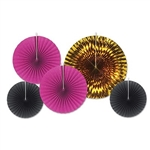 Black, cerise and gold create a rich color combination. These Assorted Paper & Foil Decorative Fans - Black, Cerise & Gold will add elegance to any party. The fans range in size from 9 to 16 inches and  come 5 per package.