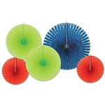 Give your party a burst of blue, lime green, and red, when you hang these Assorted Paper & Foil Decorative Fans. These fans include one large shiny blue foil fan and two lime green paper fans and two red paper fans as well. Five fans per package!