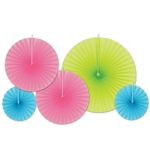 Create a vibrant ceiling display with the Accordion Paper Fans - Neon Pink Assortment. Comes with one lime green fan, two neon pink fans,and two turquoise fans. Fans range in size from eight to 16 inches, and has five total fans per package.