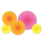 Add a colorful burst of color to your party with the Accordion Paper Fans - Orange Assortment. Contains five fans per package, the neon pink fan is a whopping 16 inches, two neon orange fans measure 12 inches and two yellow fans measuring 8 inches.