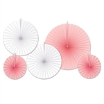 These pink and white Accordion Paper Fans will add plenty of color to a baby shower or child's 1st birthday party. There are five fans in the package, ranging in size from 9 to 16 inches!