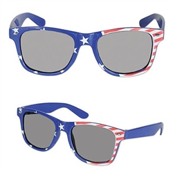 The Patriotic Glasses are a decorative accessory to any patriotic wardrobe. Printed plastic glasses feature a red, white and blue color scheme along with the stars and stripes. One per package. One size fits most adults. Offers no sun protection.