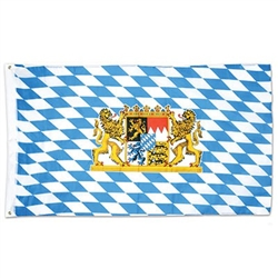 Hang the Bavarian Flag at your next Oktoberfest party! This 3 foot by 5 foot polyester fabric flag displays the traditional blue and white diamond pattern along with the coat of arms. Two grommets for easy hanging. One flag per package.
