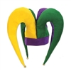 The Felt Jester Hat will make your Mardi Gras outfit stand out from the rest. The hat is made of felt in the traditional colors of green, yellow, and purple, with each tip decorated with a small jingle bell. One size fits most. No returns accepted.