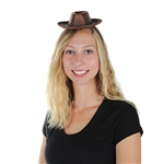 The Cowboy Hat Headband is a fun little costume accessory that will put a little country in your two step! A miniature brown faux leather cowboy hat is attached to a headband. Simply slide the hat along the band to position it. Not returnable.