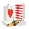 The Deck Of Cards Favor Boxes are made of cardstock and measure 4 in tall and 1.5 inches wide. One the front is the image of an ace of hearts and when opened a king of spades is displayed. Simple assembly required. 3 pieces per package.