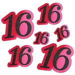 "The Glittered Foil ""16"" Cutouts are cerise with a glittery black 16. Made of cardstock with a foil coating. 6 per package. 2 measure 5 inches, 2 measure 9 inches and 2 measure 12 inches."
