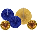 The Assorted Paper & Foil Decorative Fans - Gold & Blue are made of a combination of paper and foil. Includes gold glitter, blue foil, and gold foil fans. 2 measure 9 inches, 2 measure 12 inches, and 1 measures 16 inches. Contains 5 fans per package.