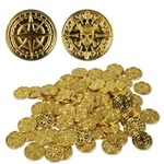 The Plastic Pirate Coins are made of metallic gold plastic and embossed with a design on each side. One side is a pirate skull and crossbones design and the other is a compass rose. They measure 1 1/2 inches across and each package contains 100 coins.