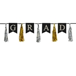 The Grad Tassel Streamer measures 13 inches tall and 6 1/2 feet long. Grad is printed in silver letters on black cardstock with alternating gold and silver tassels. Contains one streamer per package.