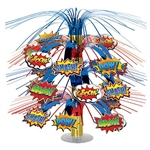 The Hero Cascade Centerpiece is made of blue and red metallic fringe with cardstock action word icons. Measures 18 inches tall. Can be used as a centerpiece and/or hanging decoration. Contains one (1) per package.