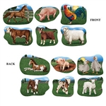 The Farm Animal Cutouts are made of cardstock and printed on two sides with different designs. The sizes range in measurement from 11 3/4 inches to 15 inches. One side has the adult animal and the other side has the baby. Comes six (6) pieces per package