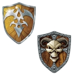 The Shield Cutouts are made of cardstock and printed on two sides with different designs. One side has an eerie skull and the other is an intricate design found on shields. They measure 19 inches wide and 23.5 inches long. Contains 2 cutouts per package.