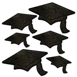 The Glittered Foil Grad Cap Cutouts - Black are made of black cardstock and printed on two sides and one side is embellished with glitter. Sizes range in measurement from 6 1/2 inches to 14 1/4 inches. Contains 6 pieces per package.