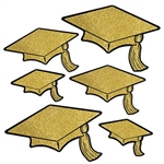 The Gold Glittered Foil Grad Cap Cutouts are made of gold cardstock with gold glitter and printed with black around the edges. Sizes range in measurement from 6 1/2 inches to 14 1/4 inches. Contains 6 pieces per package.