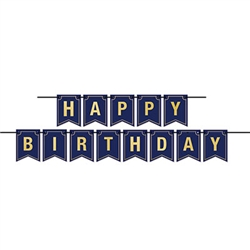 The Foil Happy Birthday Streamer is made of cardstock. It's navy with gold foil lettering and a gold outline around each pennant. Measures 6 inches tall and 12 feet long. Each package contains 1 cord and 13 cards. Simple assembly required. One per package