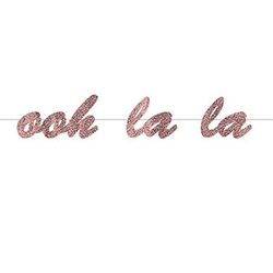 The Ooh La La Streamer is made of cardstock coated in rose gold glitter film and printed on one side. It measures 7 inches tall and 4 feet long. Contains one (1) per package. Simple assembly required.