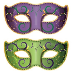The Jumbo Mardi Gras Mask Cutouts are made of cardstock and measure 37 inches wide and 18 1/2 inches tall. They are vibrant green and purple masks and printed with swirl designs. Contains two pieces per package.