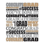 The Graduation Insta-Mural Photo Op is printed on white plastic and printed with various congratulatory phrases in black, silver, and gold. Measures 5 feet wide and 6 feet tall. A complete wall decoration. Indoor/Outdoor use. Contains one per package.