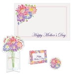 The Mother's Day Place Setting Kit contains one placemat (15 in by 10 in), one coaster (3 1/4 in), one 3-D centerpiece (9 1/2 in), and one frame (5 in by 3 1/2 in). Made of cardstock with a floral design. Four (4) pieces per package.