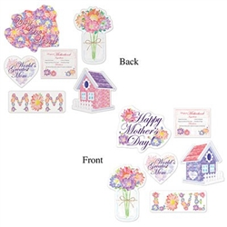 The Mother's Day Cutouts are made of cardstock and printed on two sides with different designs. Sizes range in measurement from 8 3/4 inches to 14 3/4 inches. Contains (6) pieces per package.