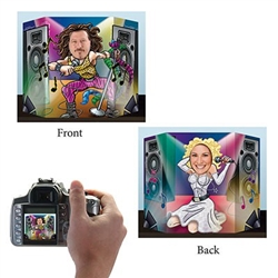 The 80's Rocker Photo Prop is a totally cool prop for your next 80's theme party. Printed with a hair band rocker on one side, and a pop princes on the other, simple sit the prop on a table and stand behind it. Peer through the hole, and snap your photo!